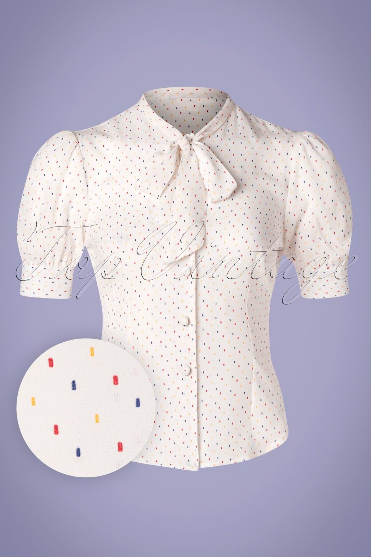 Vintage Tops & Retro Shirts, Halter Tops, Blouses 40s Melody Sprinkles Blouse in White £33.30 AT vintagedancer.com