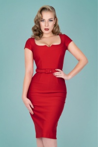Zoe Vine 50s Gina Pencil Dress in Red