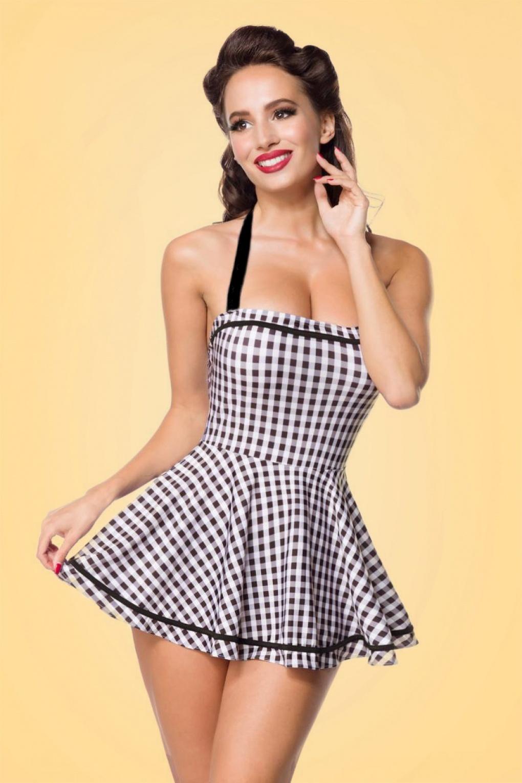 Vintage Bathing Suits | Retro Swimwear | Vintage Swimsuits 50s Gigi Gingham Swimdress in Black and White £46.00 AT vintagedancer.com