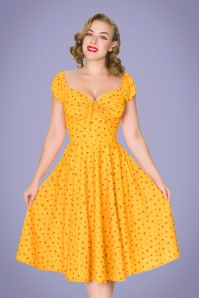 Serenity Swing Dress Années 50 en Jaune d'Or