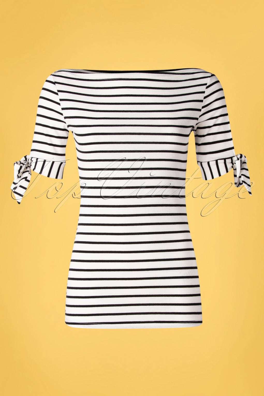 Sailor Dresses, Nautical Theme Dress, WW2 Dresses 50s Bibi Striped Tie Top in Black and White  AT vintagedancer.com