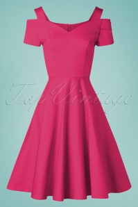 50s Helen Swing Dress in Hot Pink