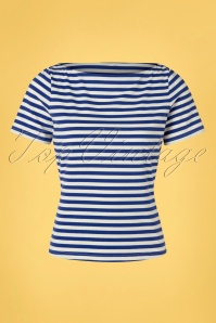 Banned Retro 60s Sally Striped Top in Blue and White