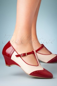 B.A.I.T. 50s Ione Spectator T-Strap Pump in Red and White