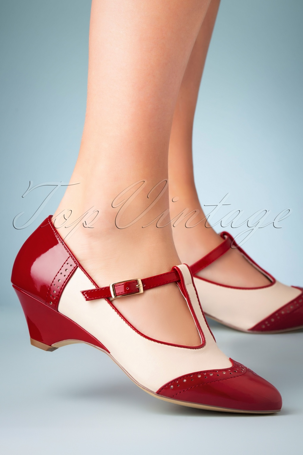 Vintage Shoes, Vintage Style Shoes 50s Ione Spectator T-Strap Pump in Red and White £63.26 AT vintagedancer.com