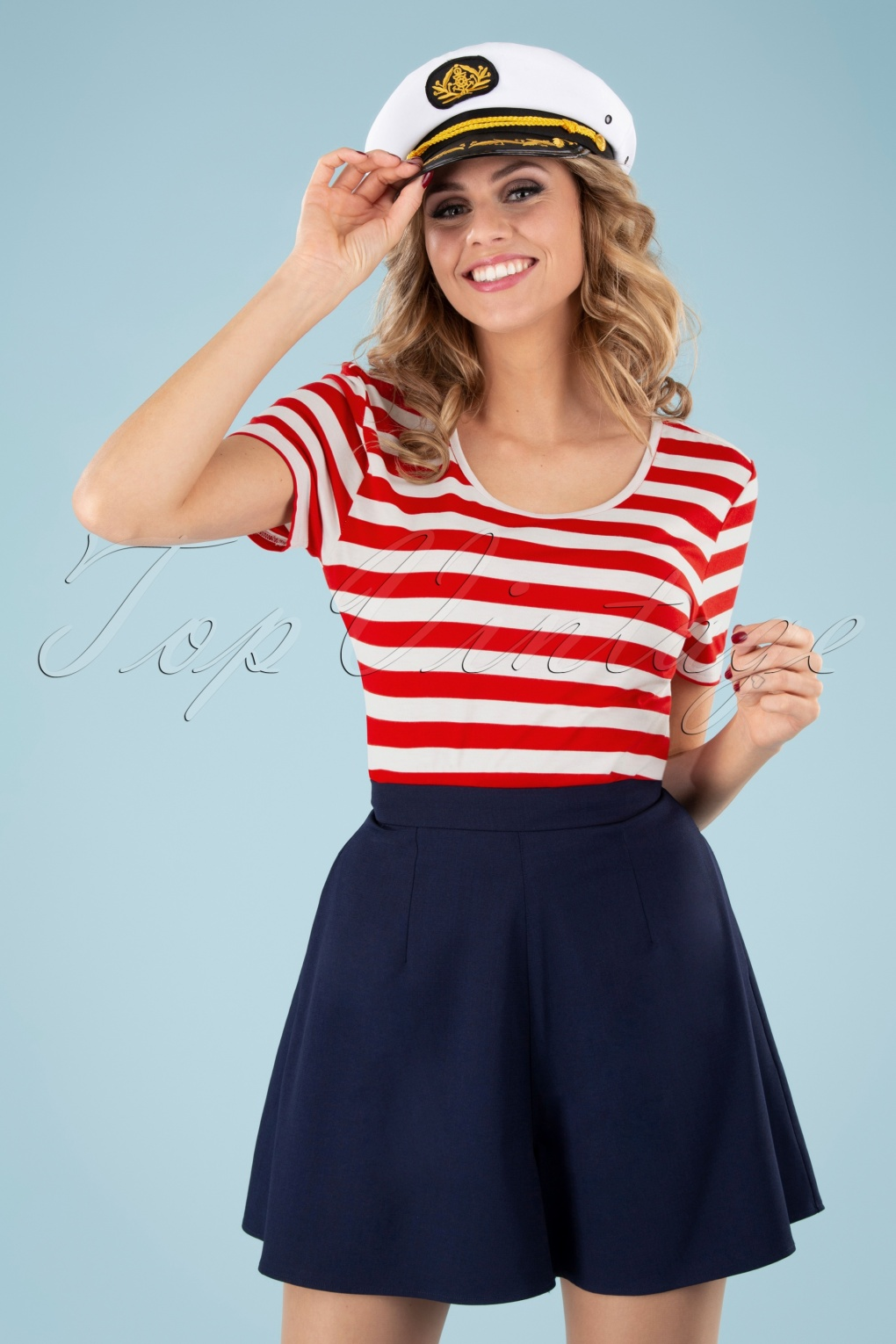 1940s Blouses and Tops 50s Land Ahoy Crop T-Shirt in Red and White £24.95 AT vintagedancer.com