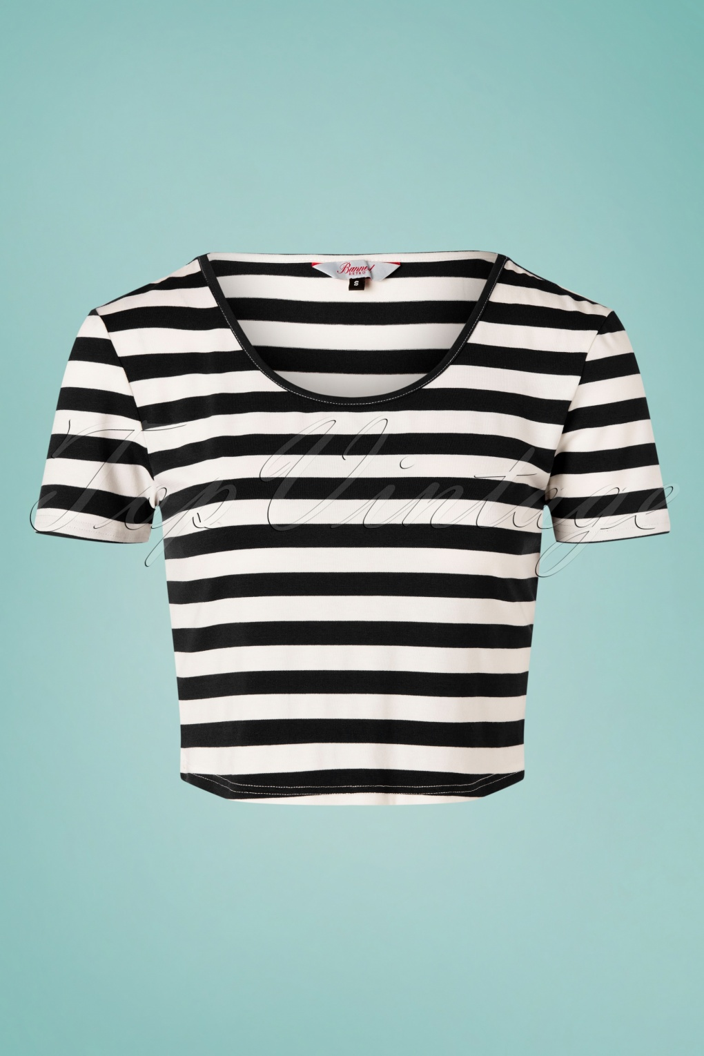 50s Shirts & Tops 50s Land Ahoy Crop T-Shirt in Black and White £24.95 AT vintagedancer.com