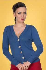 Banned 33163 June Pointelle Cardigan in Blue 20200211 020L W