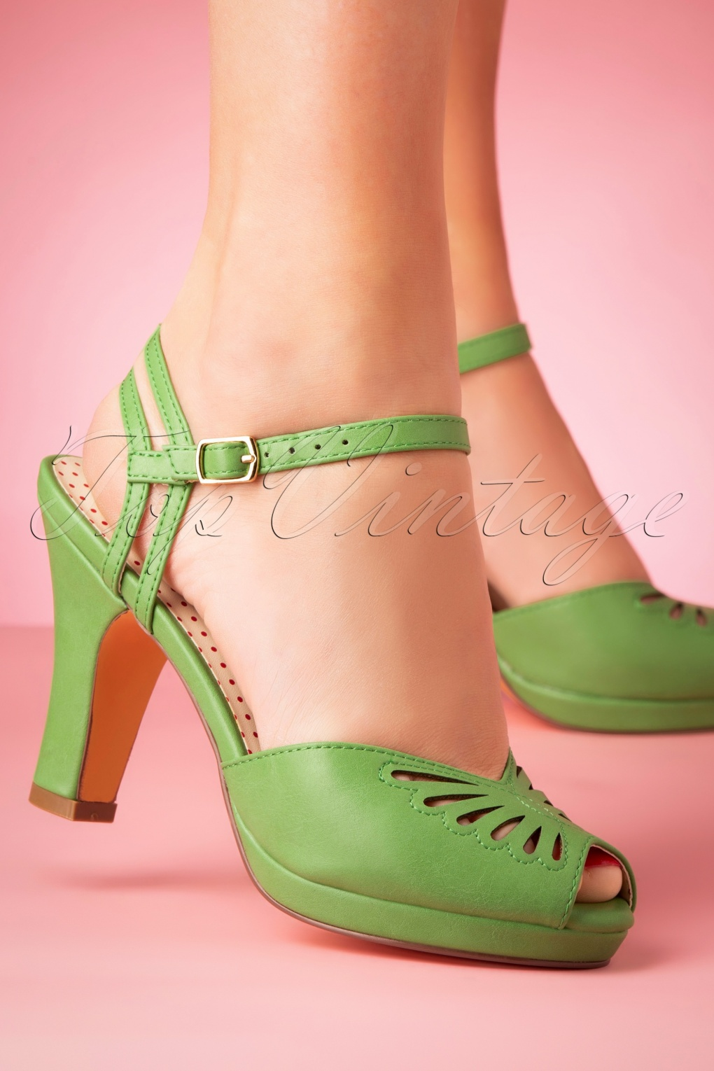 Pin Up Shoes- Heels, Pumps & Flats 50s Loraine Butterfly Platform Sandals in Spearmint £67.55 AT vintagedancer.com