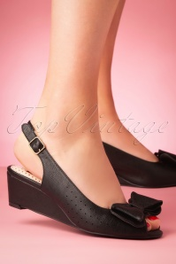 Bait Footwear 33467 Jasmin Black Heels Wedges Bow 200210 011 W