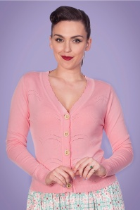 Banned 33166 June Pointelle Cardigan in Pink 20200211 020L W