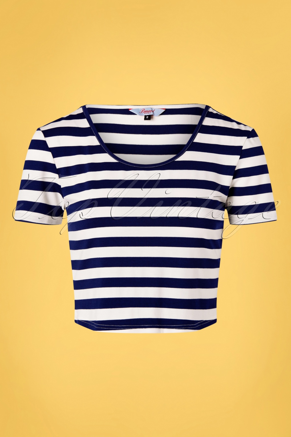 1940s Blouses and Tops 50s Land Ahoy Crop T-Shirt in Navy and White  AT vintagedancer.com