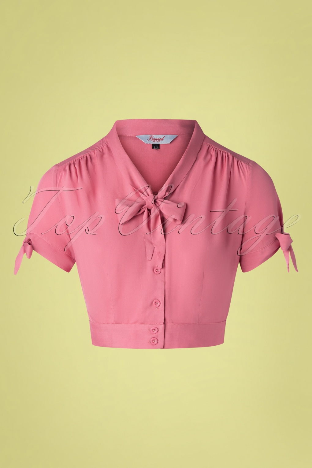 1950s Rockabilly & Pin Up Tops, Blouses, Shirts 50s Pussy Crop Top in Rouge Pink £27.15 AT vintagedancer.com