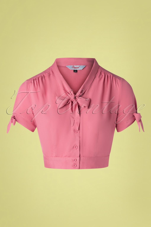 Vintage Tops & Retro Shirts, Halter Tops, Blouses 50s Pussy Crop Top in Rouge Pink £27.15 AT vintagedancer.com