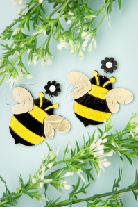 Collectif Clothing Bumble Bees Earrings Années 50 en Jaune et Noir