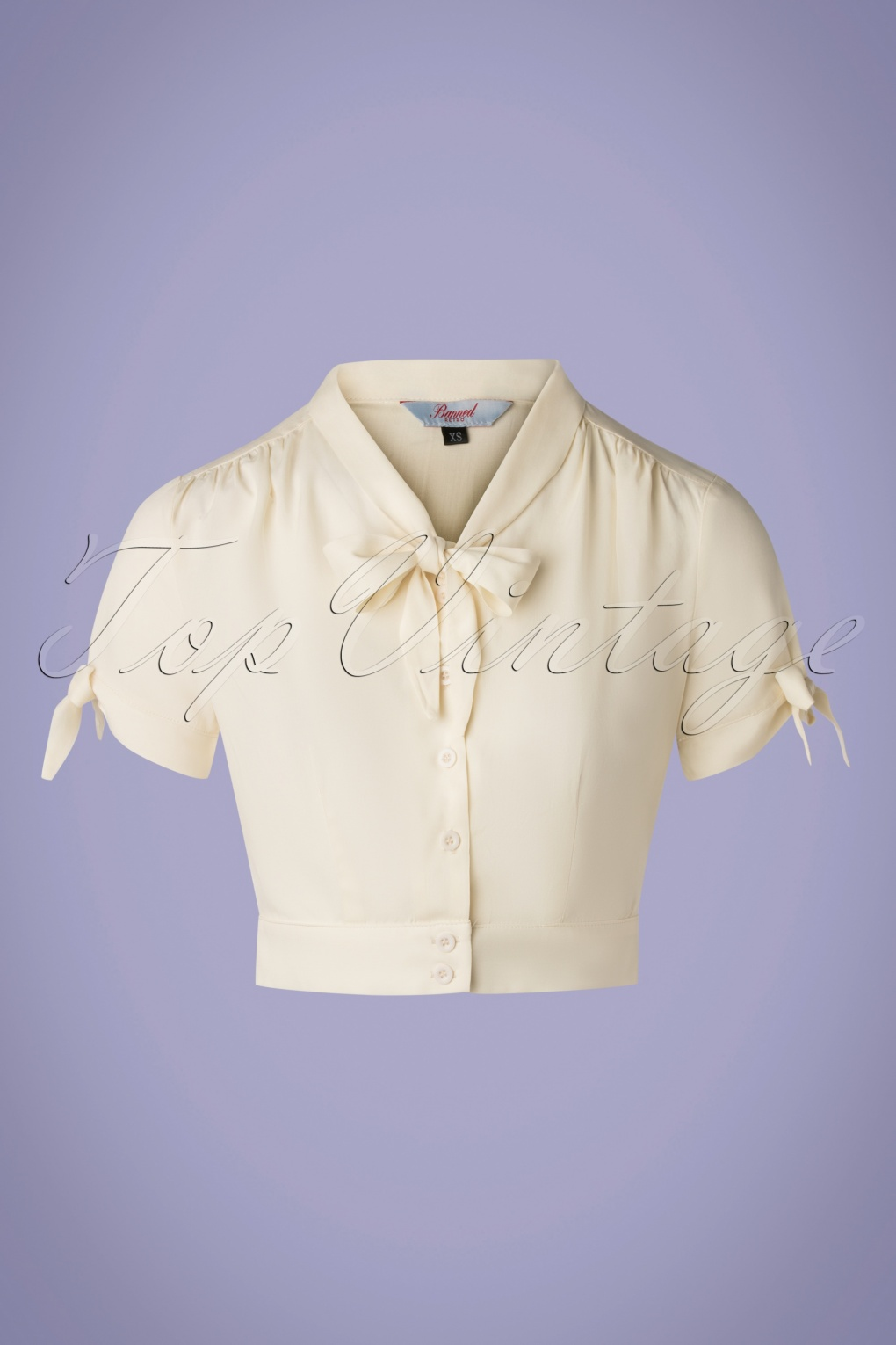 1950s Tops and Blouse Styles 50s Pussy Crop Top in Cream £19.51 AT vintagedancer.com