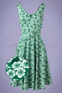 Sheen Selene Swing Dress Années 50 en Vert Fleuri