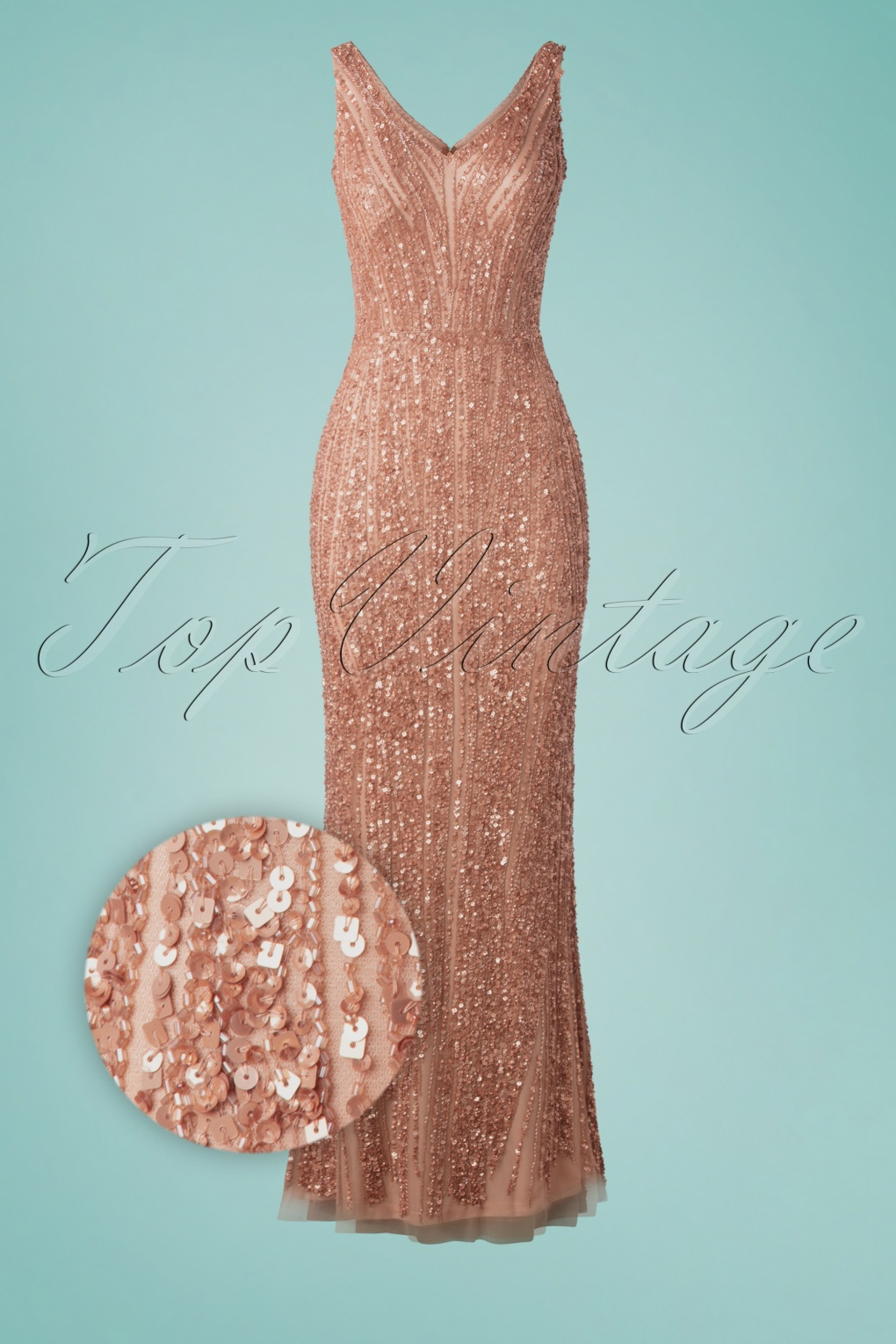 1920s Formal Dresses & Evening Gowns Guide 20s Sophie Sequin Maxi Dress in Rose Gold £204.40 AT vintagedancer.com