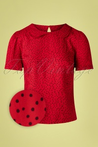 Sheen 60s Leila Polkadot Blouse in Red