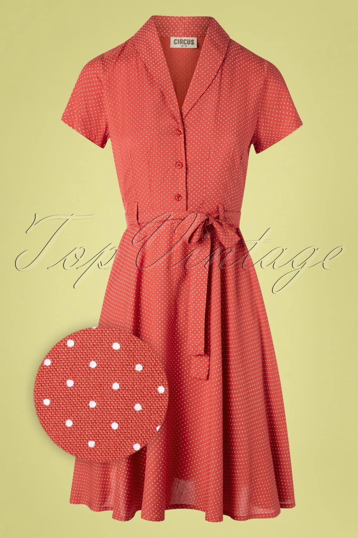 Vintage Shirtwaist Dress History 60s Hilda Pin Dot Swing Dress in Pale Red £67.19 AT vintagedancer.com