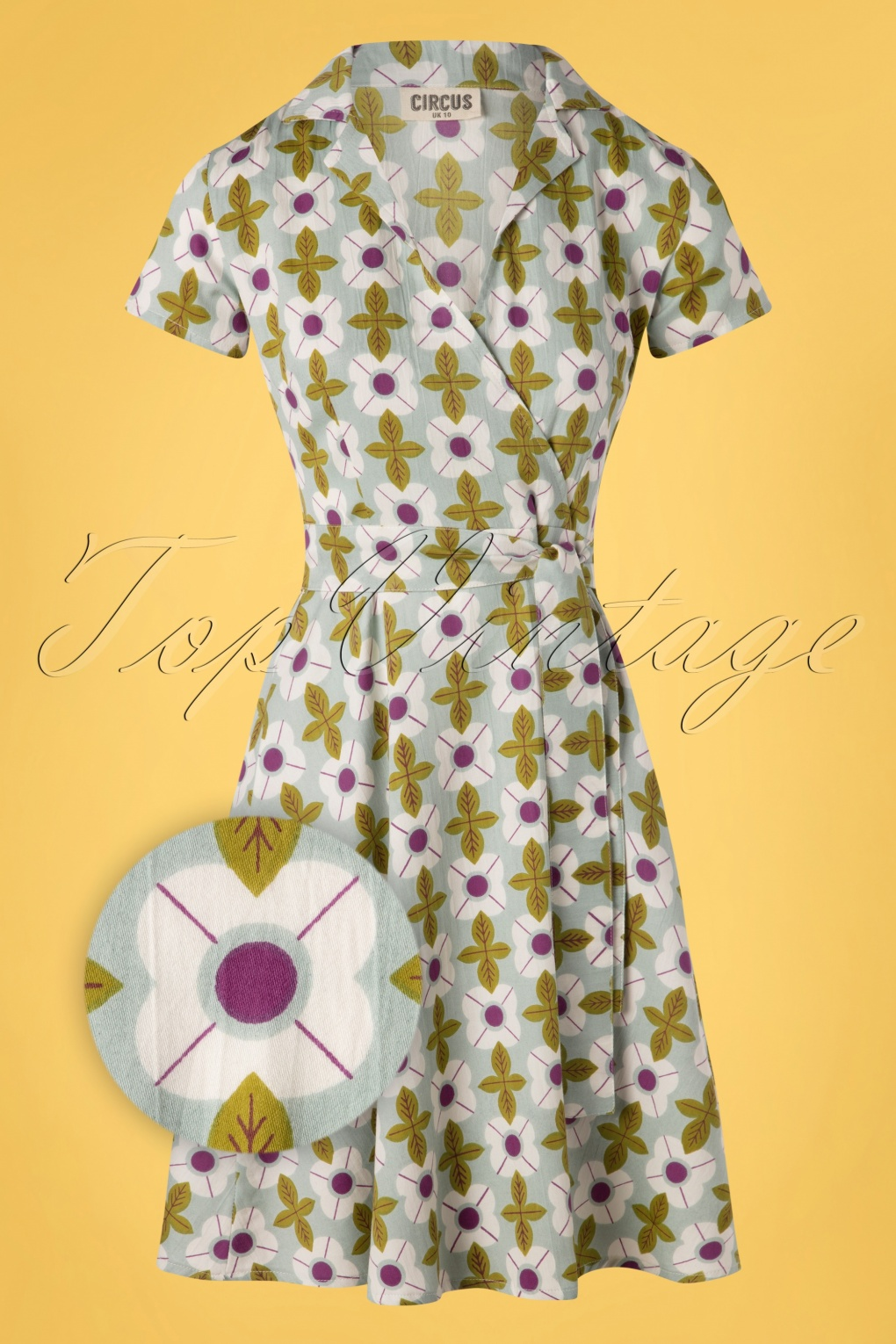60s Dresses | 1960s Dresses Mod, Mini, Hippie 60s Cynthia Tile Floral Dress in Duck Egg Green £61.37 AT vintagedancer.com