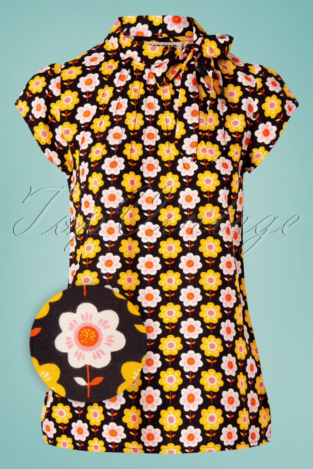 60s Shirts, T-shirts, Blouses, Hippie Shirts 60s Anna Wallflower Top in Black £41.76 AT vintagedancer.com