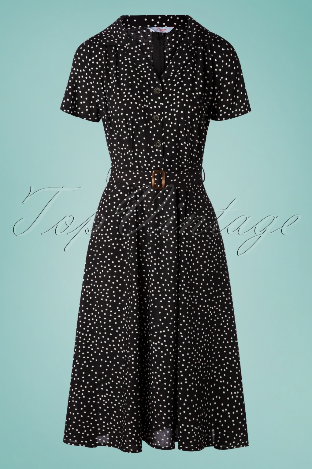 1940s Dresses | 40s Dress, Swing Dress 40s Spot Polkadot Swing Dress in Black £39.56 AT vintagedancer.com