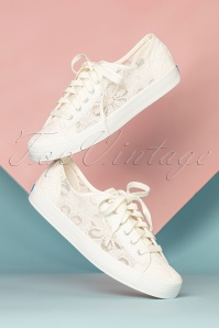 Keds 50s Chrochet Kickstart Floral Sneakers in Cream