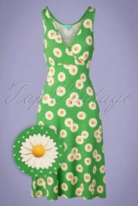 LaLamour 70s Flared Daisy Dress in Green