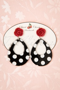Sweet Cherry Polkadot Rose Drop Earrings Années 50 en Noir