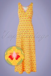 Lea Long Singlet Maxi Dress Années 70 en Jaune