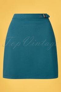 4FunkyFlavours 60s Nobody Can Be You Skirt in Petrol Blue