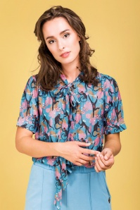 4FF 31799 Don't Turn Your Back On Me Blouse in Blue 20191129 020L