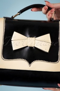 Banned 32595 Chelsea White Bow Handbag Black 044M W