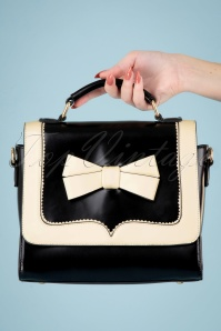 Banned 32595 Chelsea White Bow Handbag Black 043M W