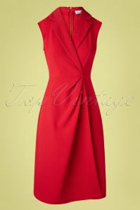 Closet London 60s Lapel Wrap Dress in Lipstick Red