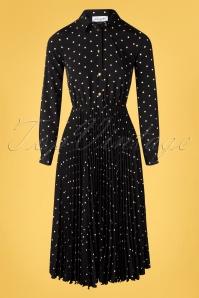 Closet London 50s Penelope Polkadot Pleated Shirt Dress in Black