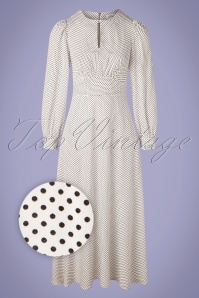 Closet London 60s Vivi Polkadot Maxi Dress in Ivory