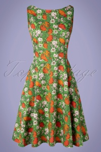 60s Saga Vallmo Dress in Green and Orange