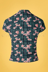 Miss Candyfloss 33300 Blouse Floral Petrol Checked 200219 006W