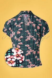 Miss Candyfloss 33300 Blouse Floral Petrol Checked 200219 003Z