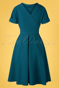 Miss Candyfloss 33306 Swingdress Plain Petrol 200219 009W