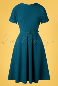 Miss Candyfloss 50s Pamy Swing Dress in Petrol Blue