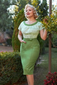 MissCandyfloss 33290 Floral Pencil Dress Shamrock 021L