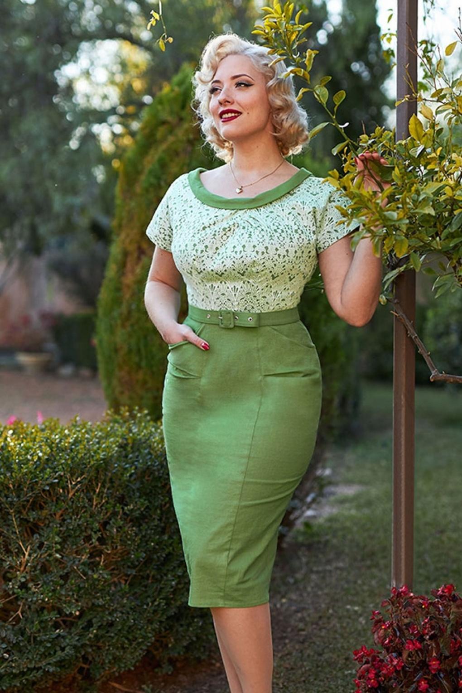 1950s Swing Skirt, Poodle Skirt, Pencil Skirts 50s Esme Shamrock Pencil Dress in Green £103.09 AT vintagedancer.com