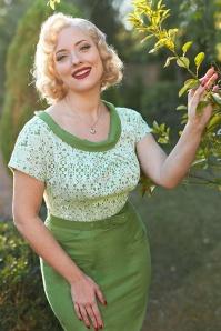 MissCandyfloss 33290 Floral Pencil Dress Shamrock 020L