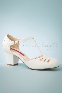 40s Robbie T-Strap Pumps in Ivory