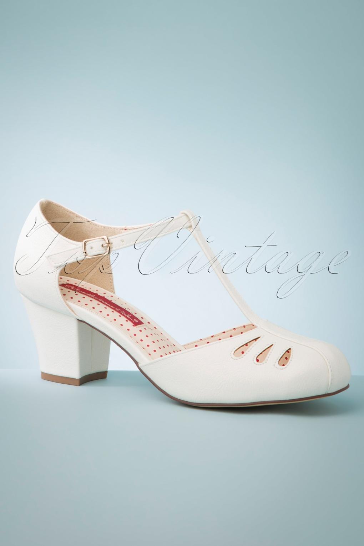 1930s Style Shoes – Art Deco Shoes 40s Robbie T-Strap Pumps in Ivory £69.86 AT vintagedancer.com