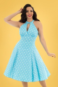Hearts & Roses Dotty Polkadot Swing Dress Années 50 en Bleu Clair