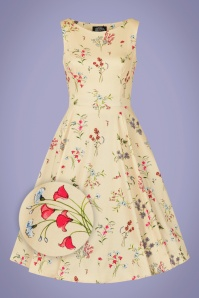 Hearts & Roses 50s Bridget Floral Swing Dress in Cream